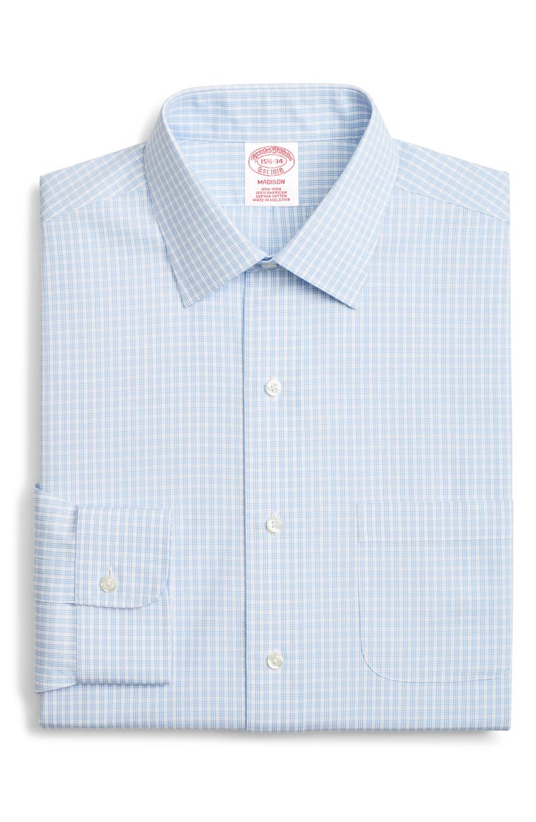 BROOKS BROTHERS Madison Classic Fit Check Dress Shirt, Main, color, LIGHT/ PASTEL BLUE
