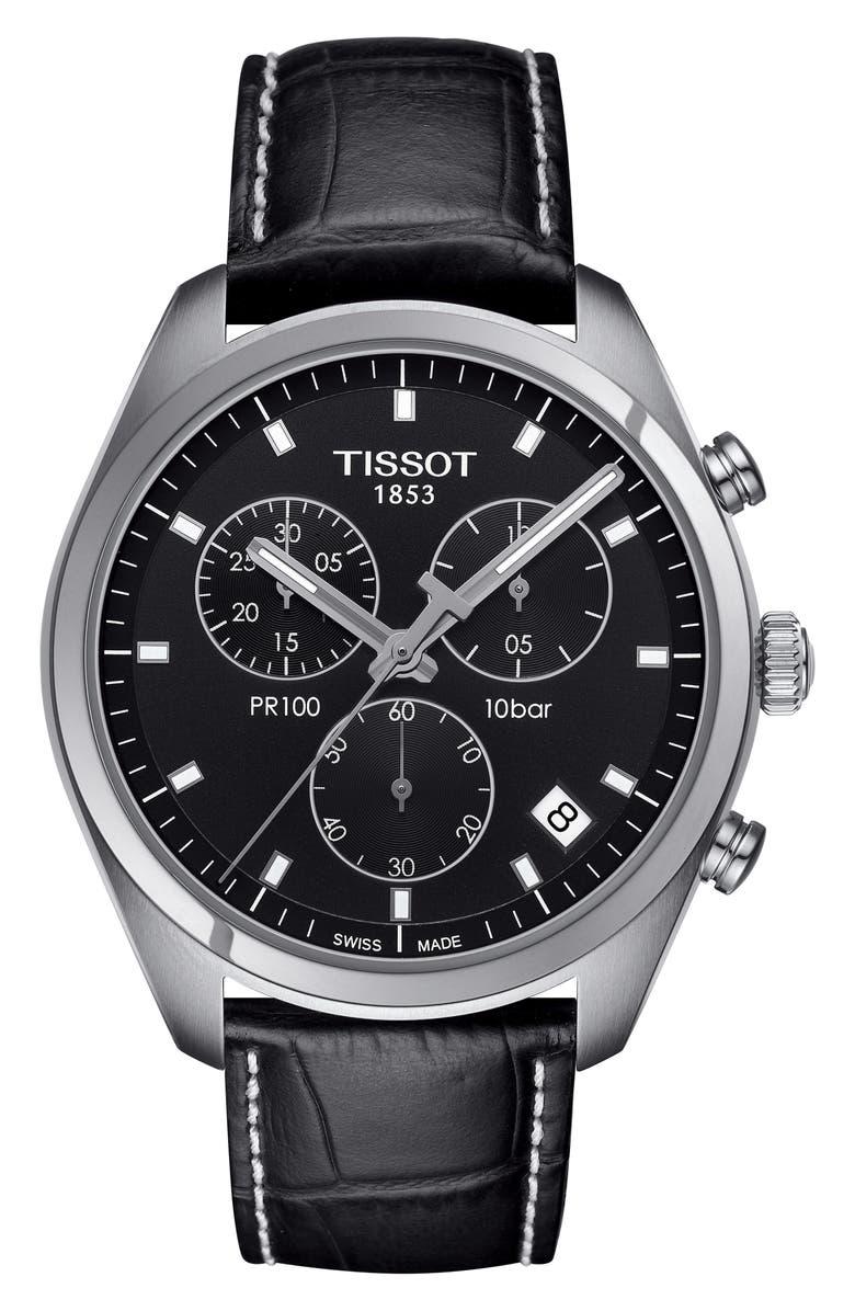 TISSOT PR100 Chronograph Leather Strap Watch, 41mm, Main, color, BLACK/ SILVER
