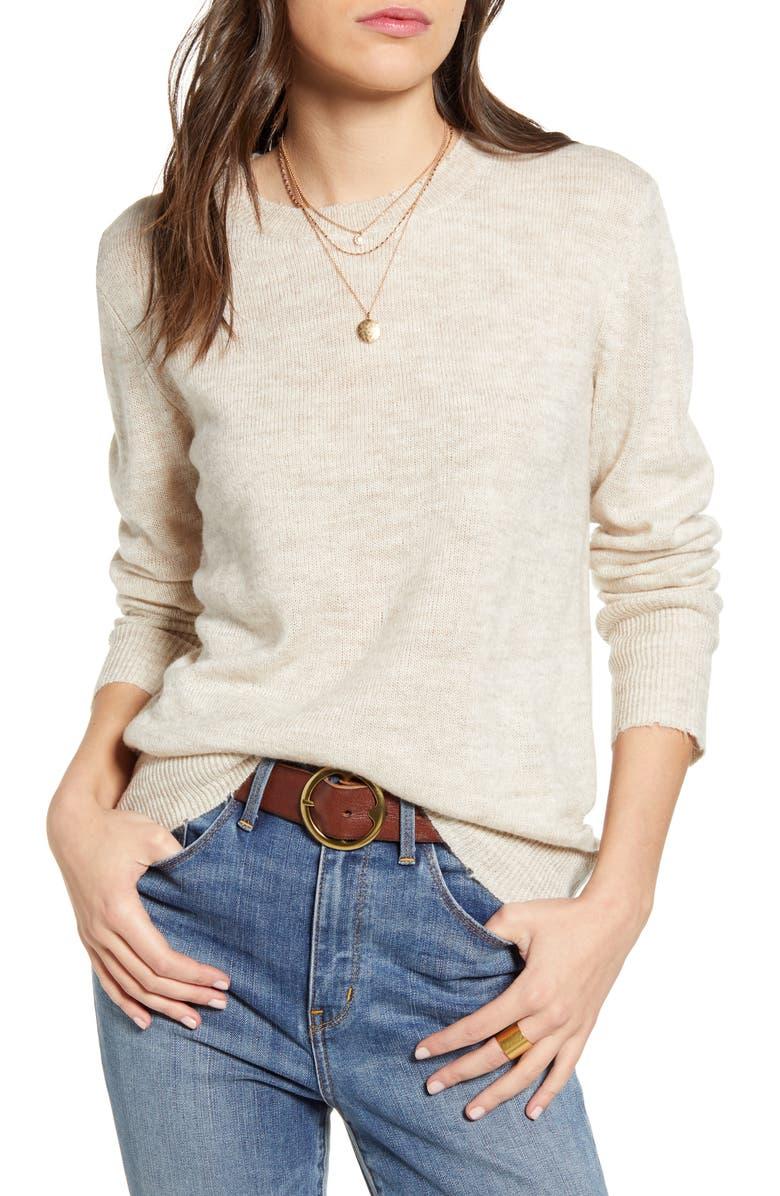 TREASURE & BOND Distressed Pullover, Main, color, BEIGE OATMEAL LIGHT HEATHER