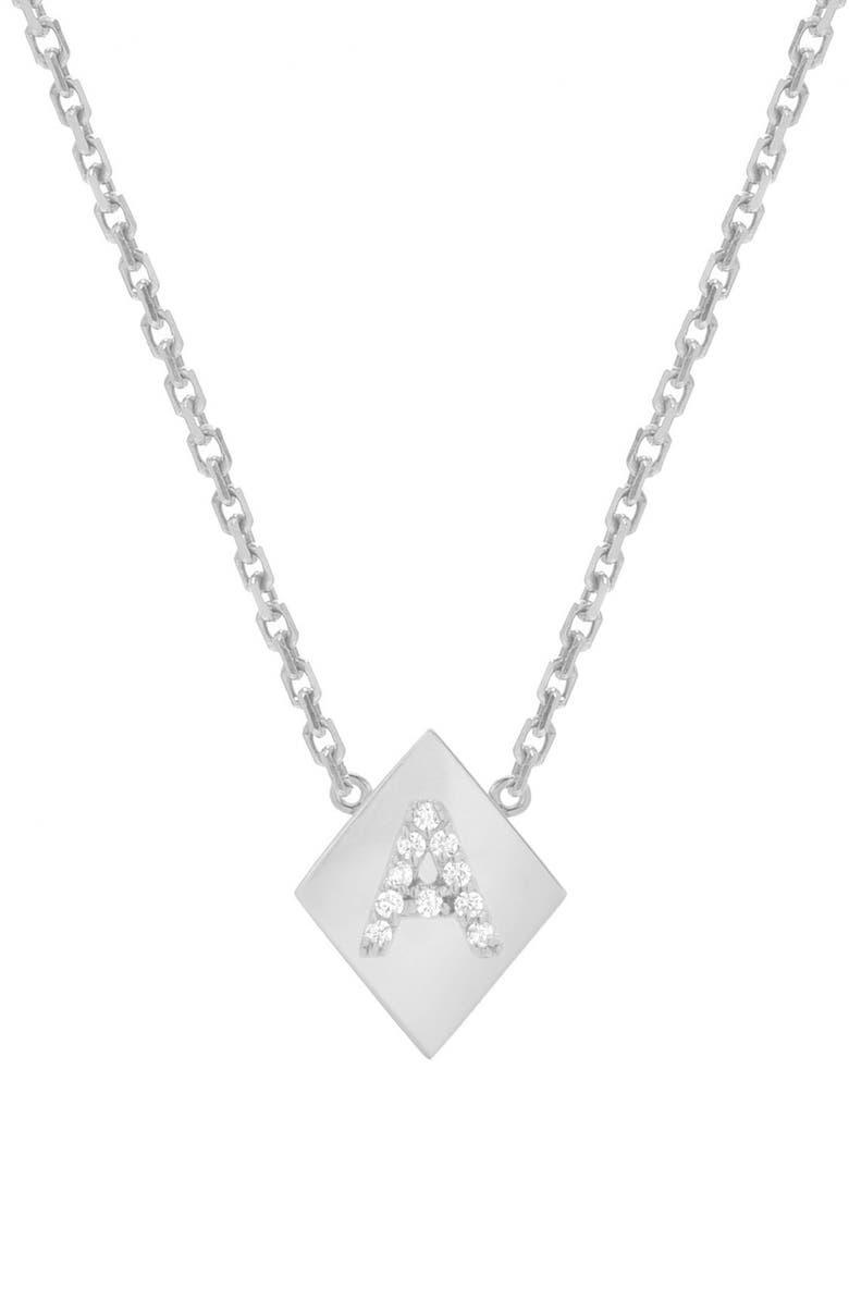 MINI MINI JEWELS Framed Diamond Initial Pendant Necklace, Main, color, WHITE GOLD-A