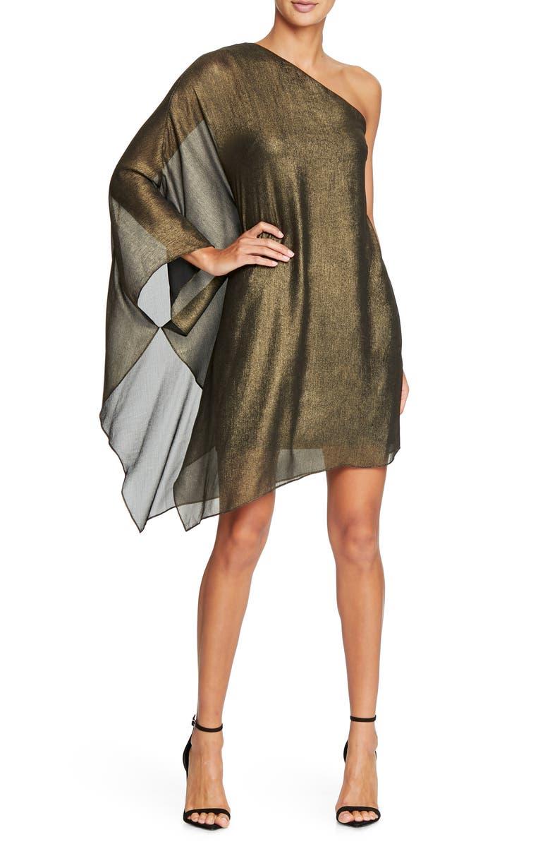 HALSTON HERITAGE Metallic One-Shoulder Minidress, Main, color, GOLD