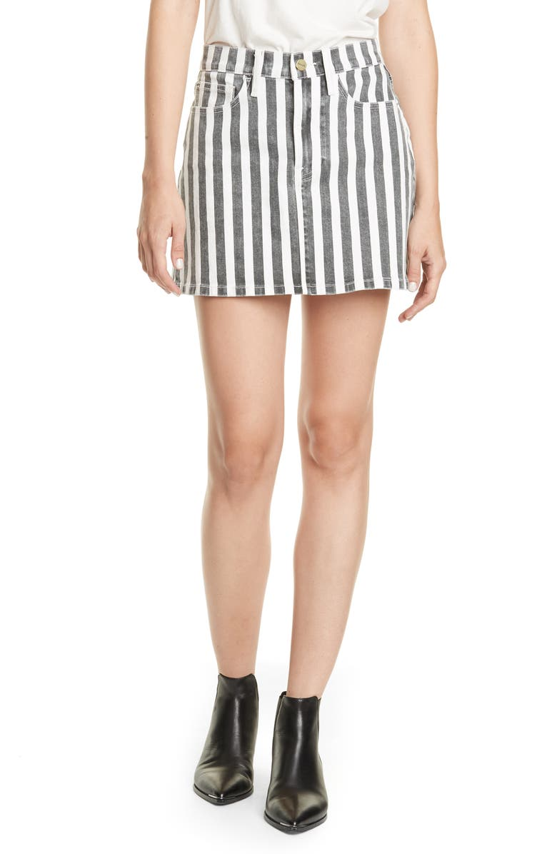 FRAME Le Mini Beatnik Stripe Denim Skirt, Main, color, NOIR MULTI