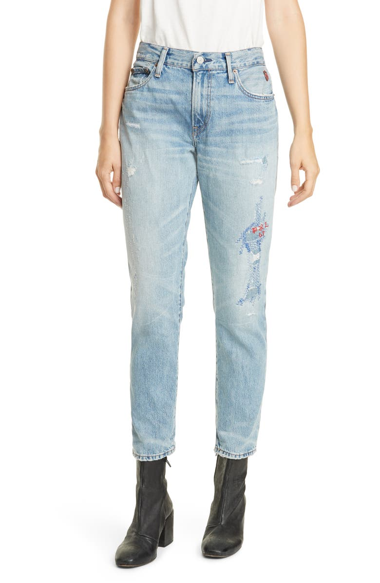POLO RALPH LAUREN Avery Logo Polo Embroidery Detail Distressed Boyfriend Jeans, Main, color, LIGHT INDIGO