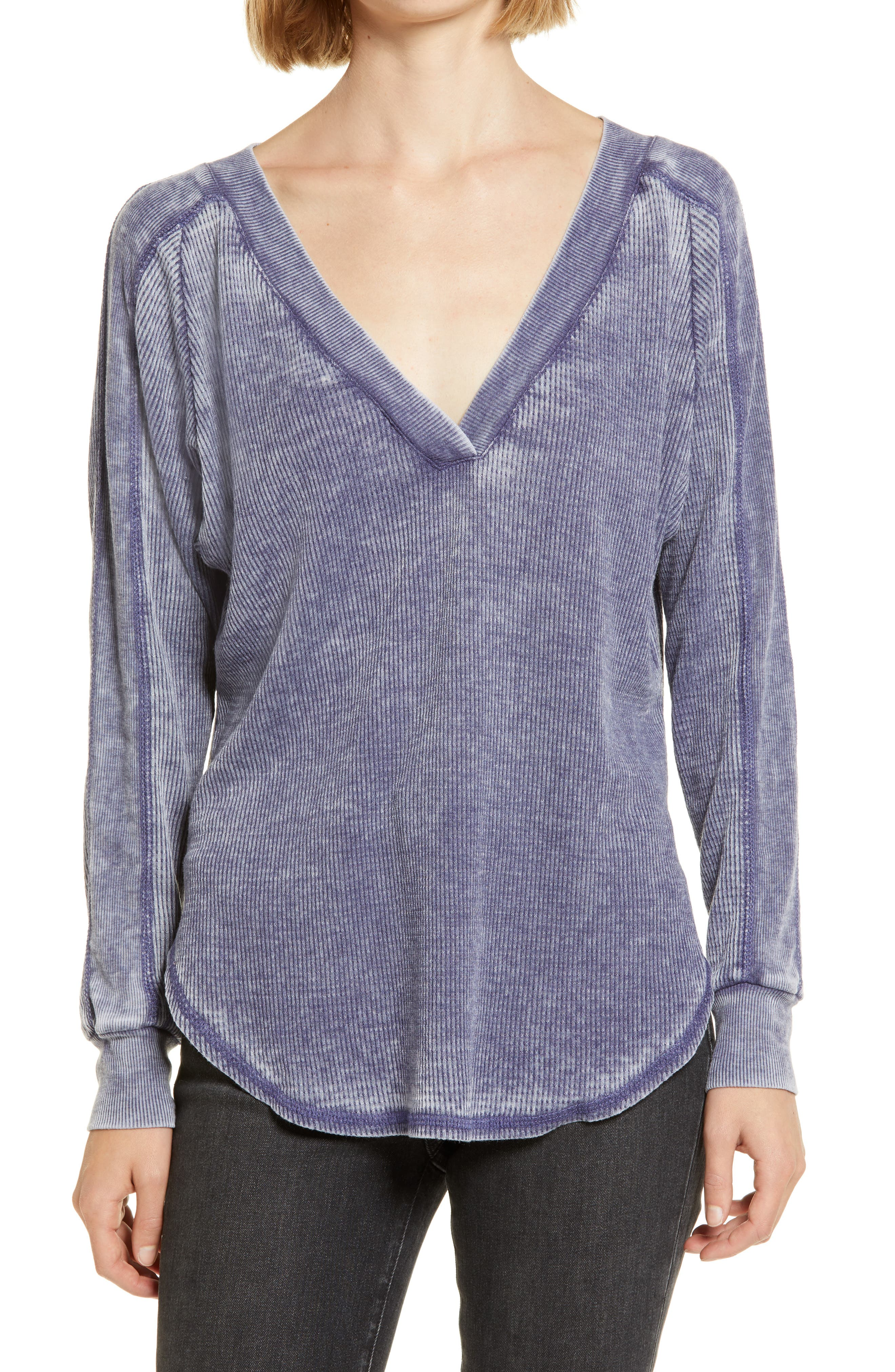 This relaxed, V-neck top in a soft thermal knit with worn-in details is an essential staple for your cool-weather wardrobe. When you buy Treasure & Bond, Nordstrom will donate 2.5% of net sales to organizations that work to empower youth. Style Name: Treasure & Bond Thermal V-Neck Top. Style Number: 6063607. Available in stores.