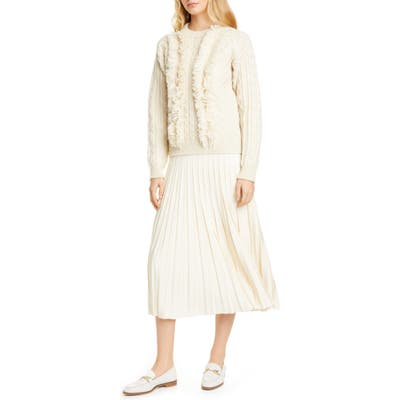 Tory Burch Cable Fringe Wool Sweater, Ivory