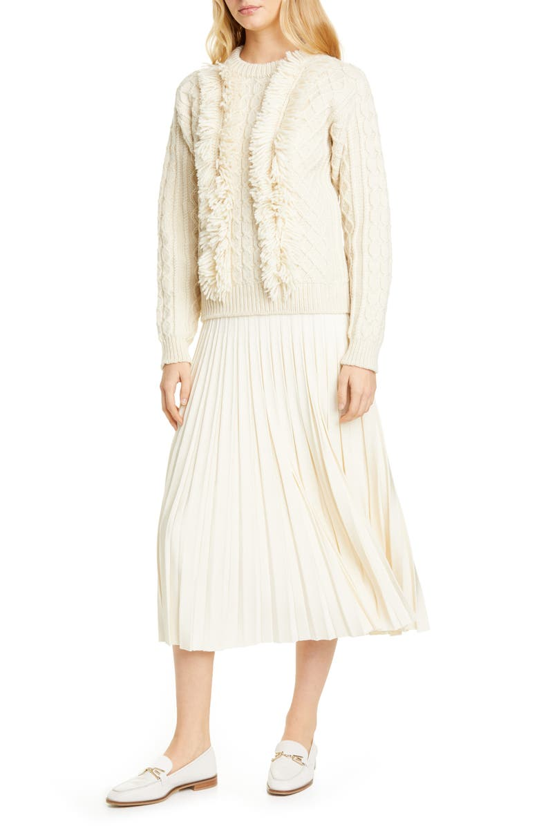 TORY BURCH Cable Fringe Wool Sweater, Main, color, NEW IVORY
