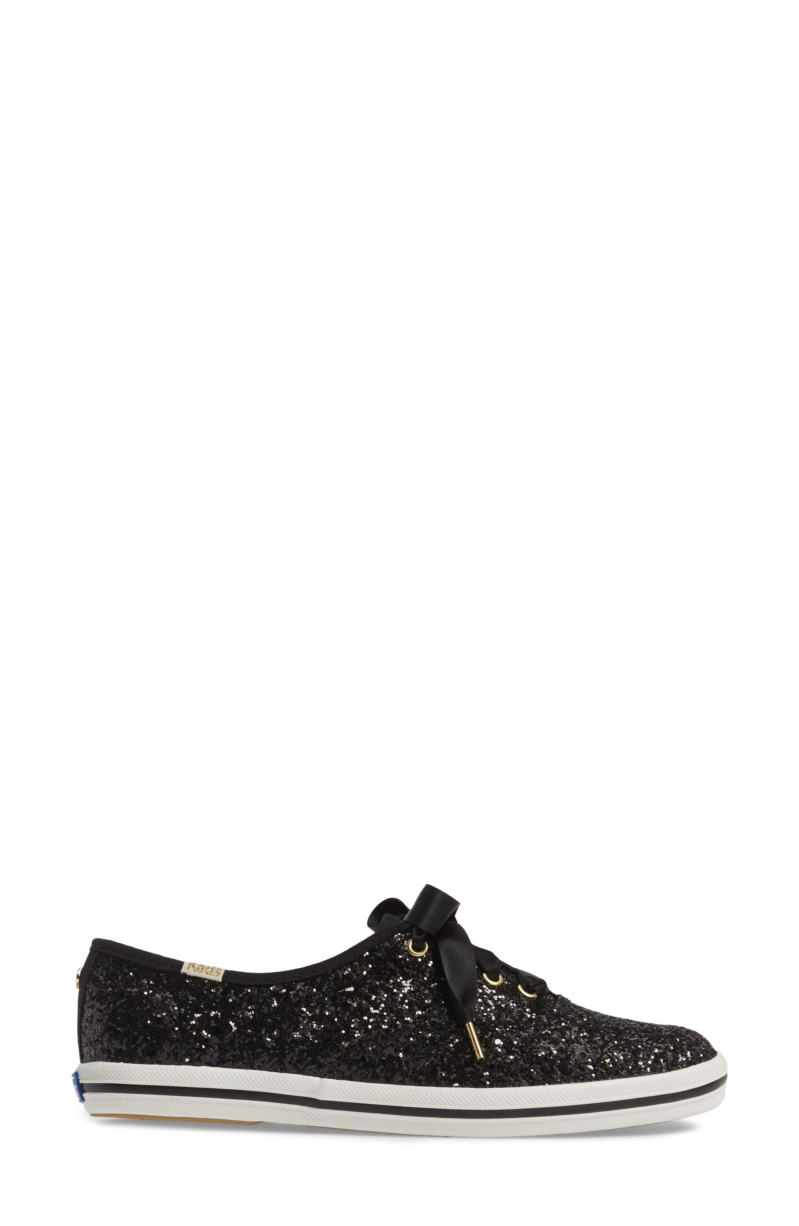,                             glitter sneaker,                             Alternate thumbnail 3, color,                             BLACK