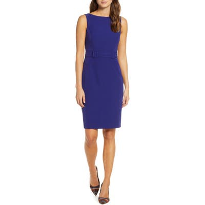 Petite Vince Camuto Laguna Crepe Belted Dress, Blue