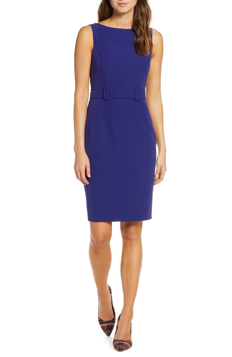 Laguna Crepe Belted Dress, Main, color, INDIGO