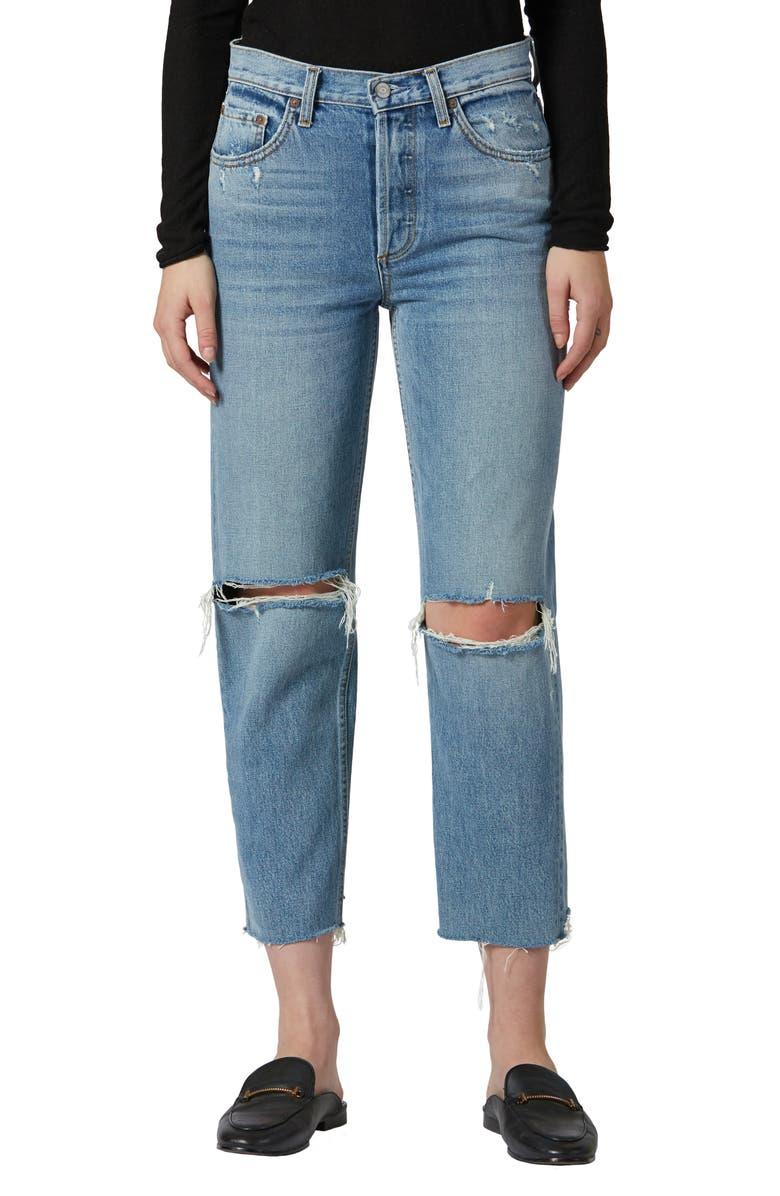 BOYISH JEANS The Tommy Ripped High Waist Raw Hem Straight Leg Jeans, Main, color, 468