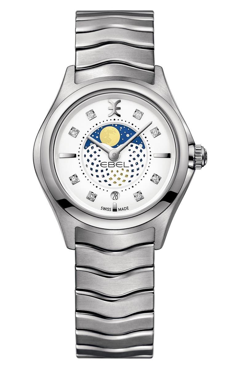 EBEL Moonphase Wave Bracelet Watch, 30mm, Main, color, 044