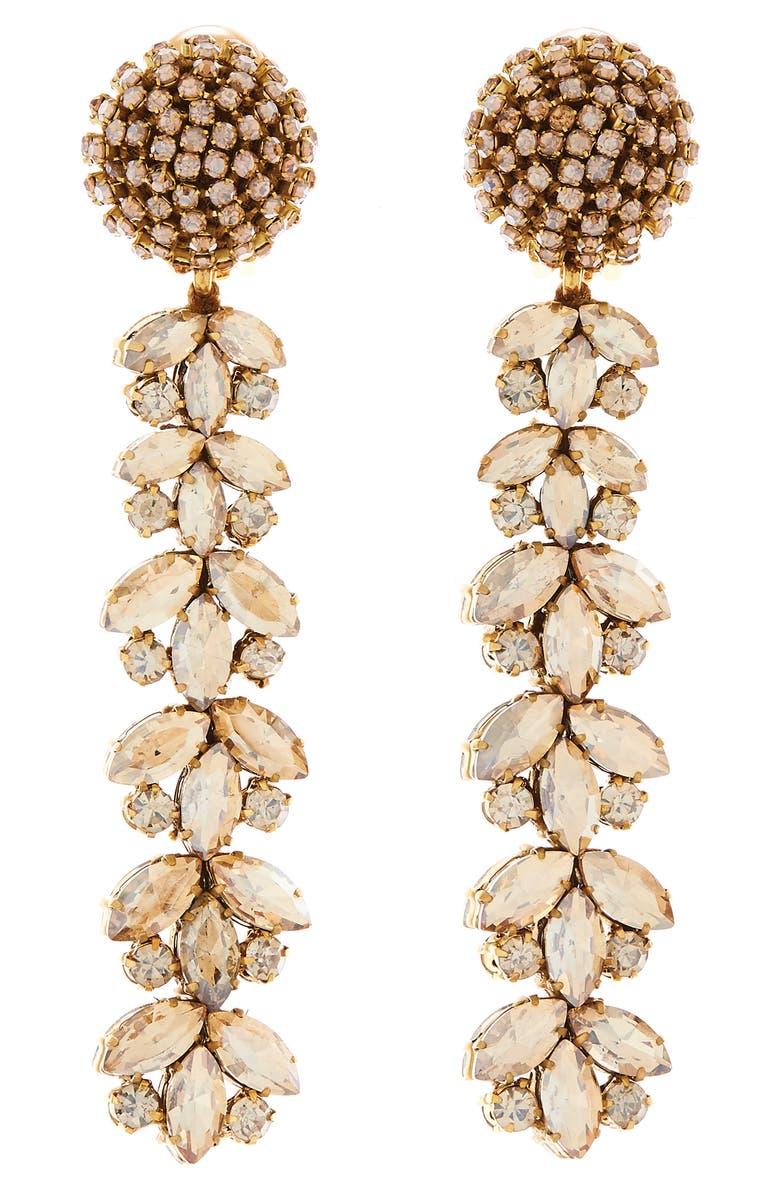 OSCAR DE LA RENTA l Crystal Flower Linear Drop Earrings, Main, color, 040