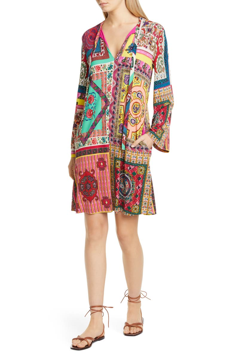 ETRO Tie Neck Long Sleeve Jersey Shift Dress, Main, color, CORAL