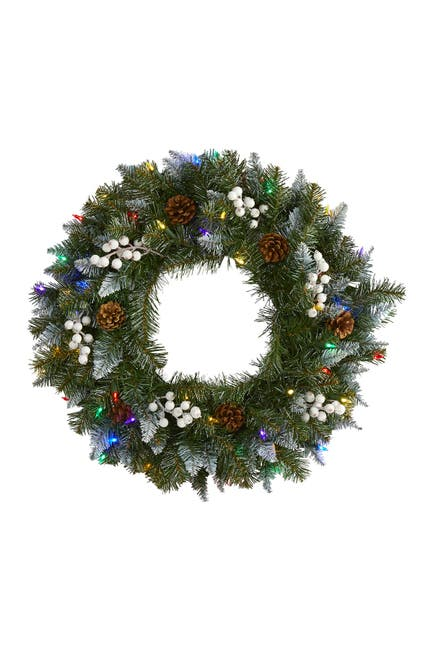 """Image of NEARLY NATURAL 24"""" Light-Up Snow Tipped Artificial Christmas Wreath"""