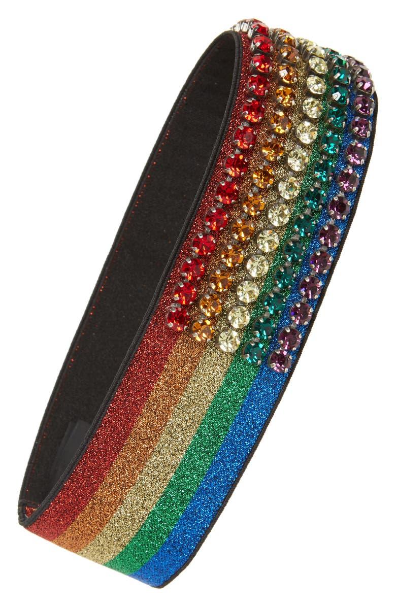 GUCCI Webby Rainbow Crystal Headband, Main, color, 019