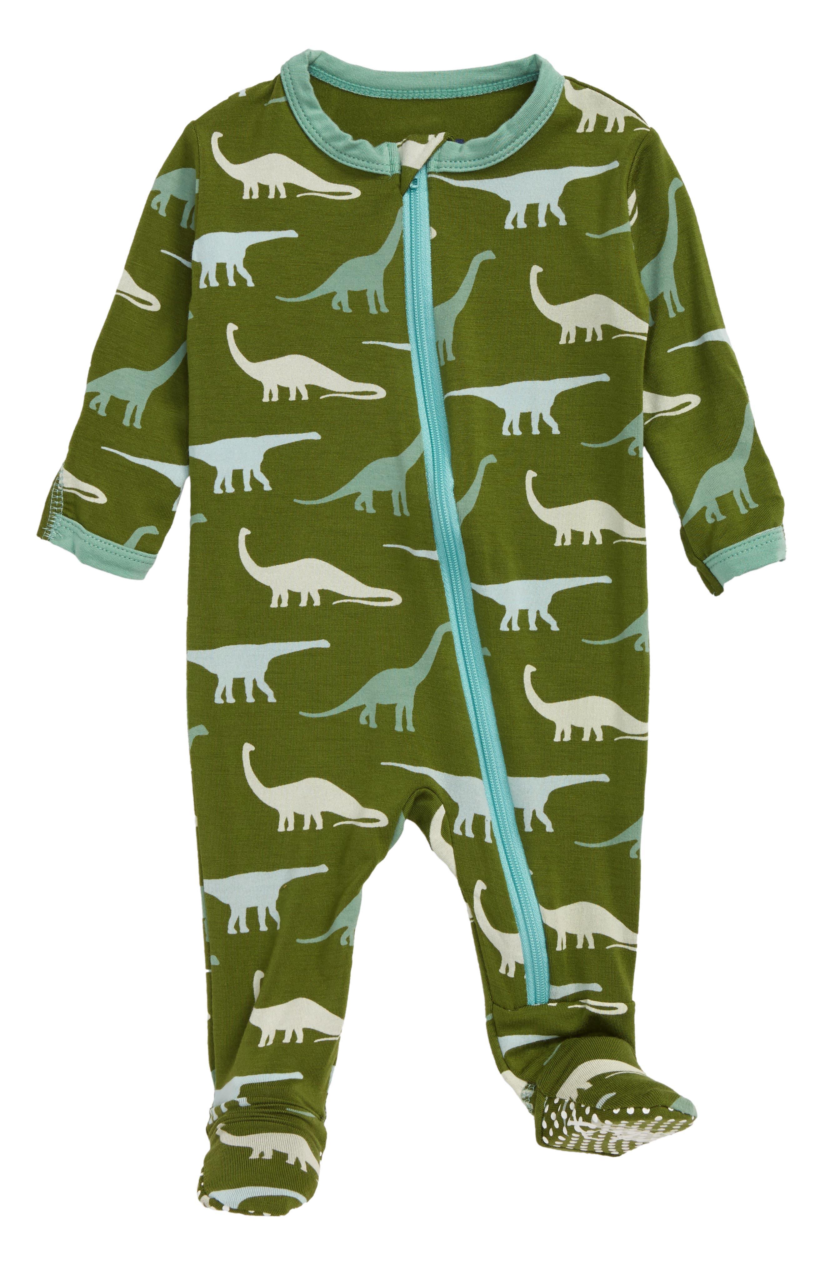 Infant Boys Kickee Pants Zip Footie Size 03M  Green