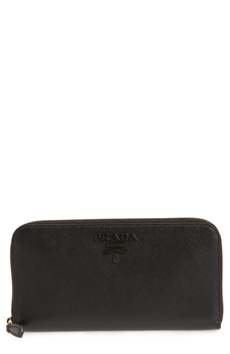 PRADA Monochrome Saffiano Leather Zip Around Wallet, Main, color, NERO