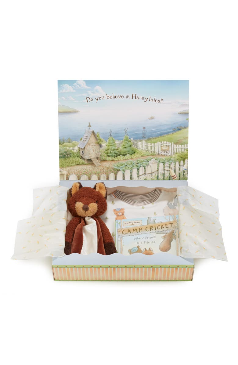BUNNIES BY THE BAY Foxy Sleepy Time Fitted Two-Piece Pajamas, Animal Buddy Blanket & Book Set, Main, color, RUST