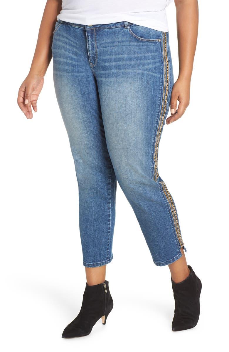 WIT & WISDOM Flex-ellent Leopard Stripe Slim Straight Leg Jeans, Main, color, BLUE