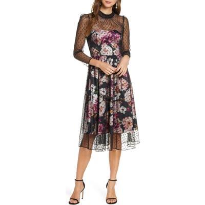 Eliza J Floral Illusion Cocktail Dress, Black