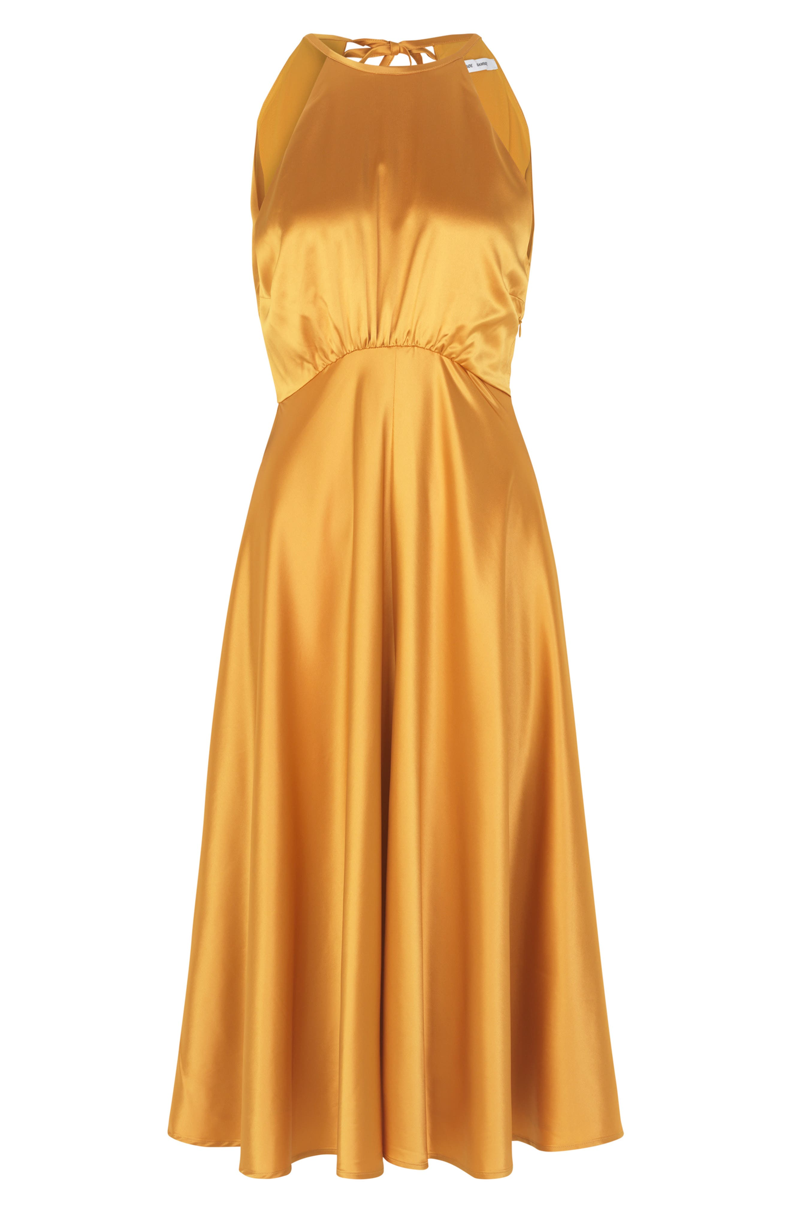 70s Dresses – Disco Dress, Hippie Dress, Wrap Dress Womens Samse Samse Rhea Sleeveless Satin Dress Size XX-Small - Yellow $320.00 AT vintagedancer.com