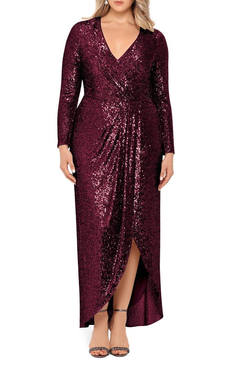 XSCAPE Long Sleeve Faux Wrap Sequin Gown, Main, color, WINE