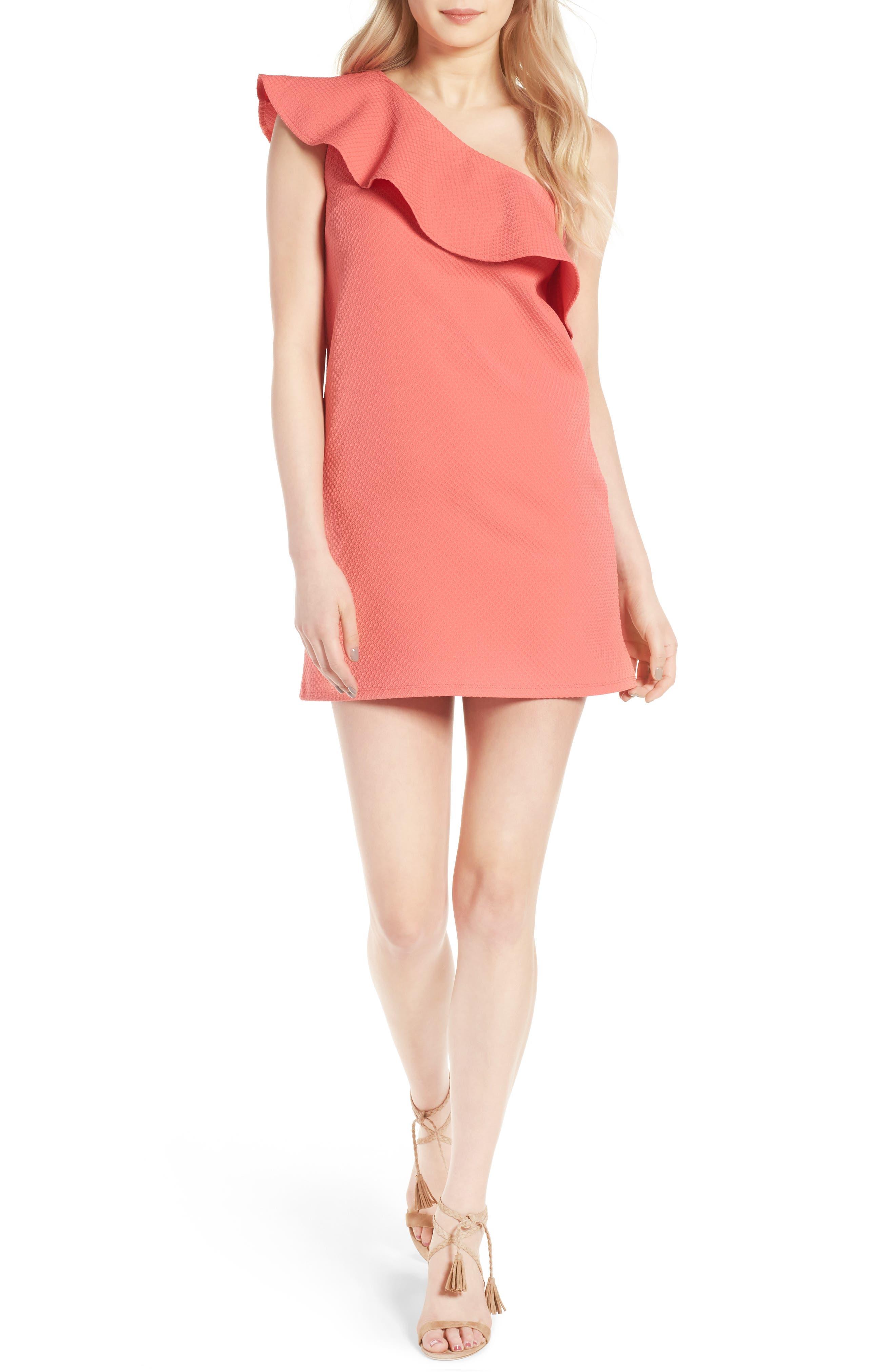 ,                             Ruffle One-Shoulder Dress,                             Main thumbnail 12, color,                             950