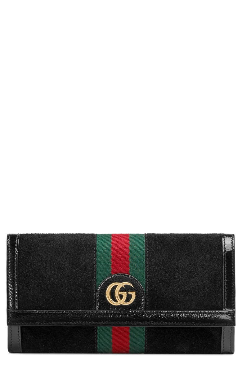GUCCI Ophidia Suede Continental Wallet, Main, color, NERO/ NERO/ VERT RED VERT