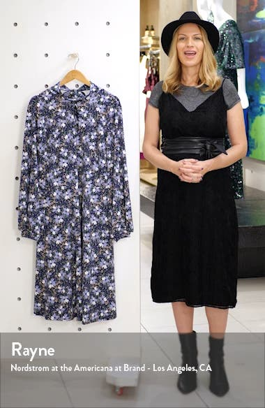 Floral Keyhole Detail Long Sleeve Fit & Flare Dress, sales video thumbnail