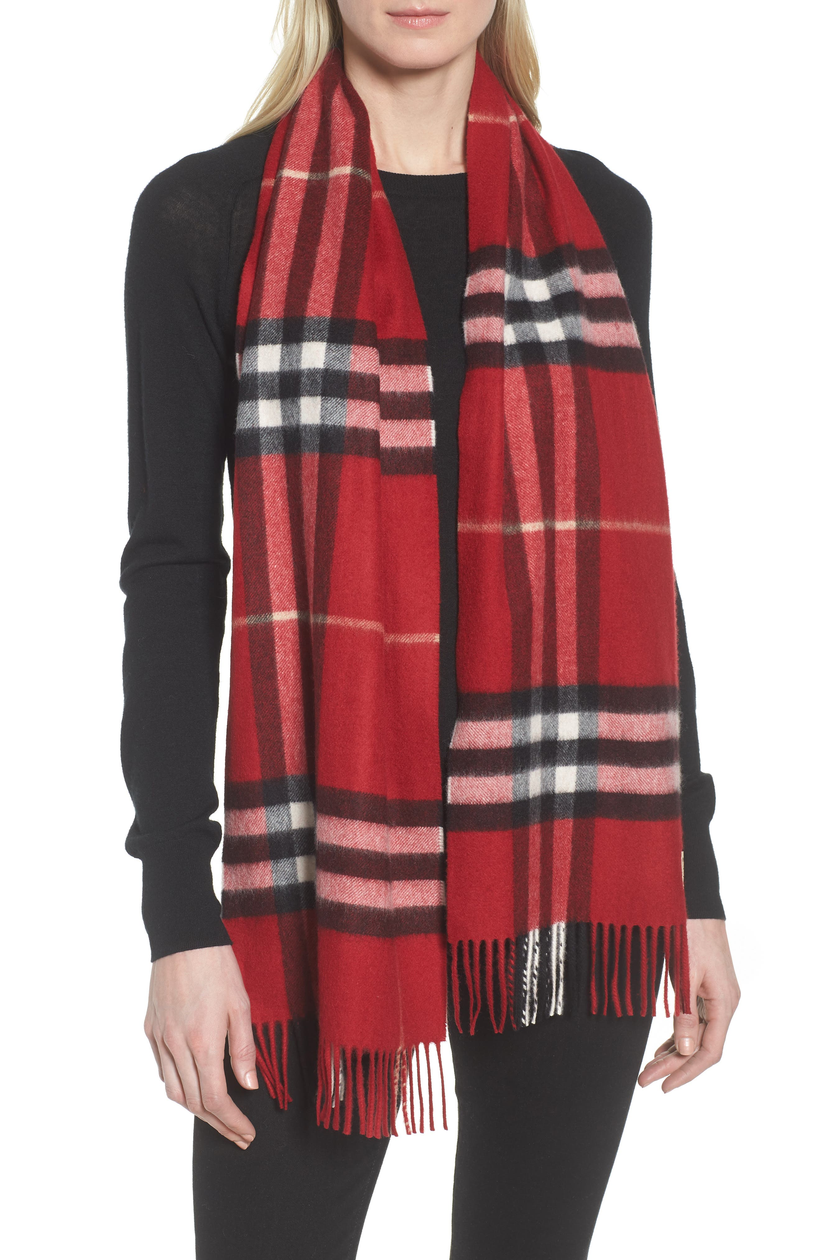 ,                             Giant Check Cashmere Scarf,                             Main thumbnail 1, color,                             PARADE RED