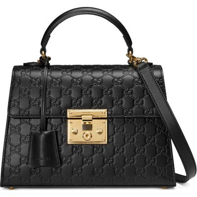 Gucci Small Padlock Top Handle Signature Leather Bag -