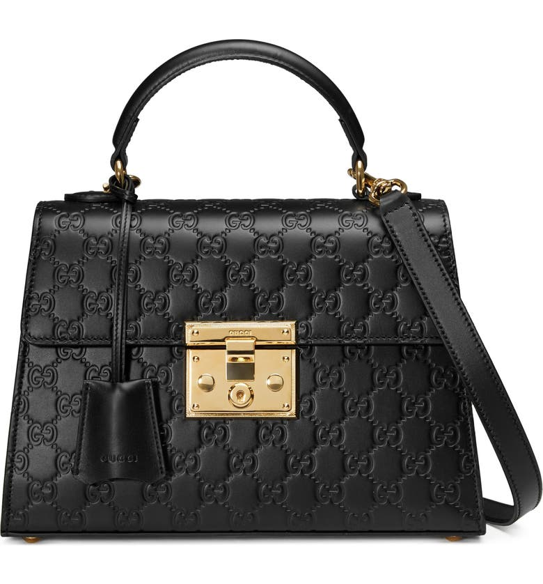 GUCCI Small Padlock Top Handle Signature Leather Bag, Main, color, NERO
