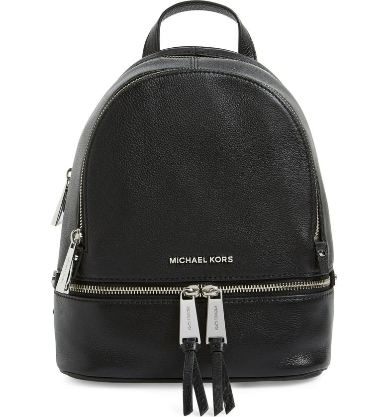 MICHAEL MICHAEL KORS 'Extra Small Rhea' Leather Backpack, Main, color, 001