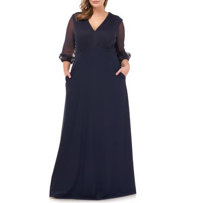Plus Size Js Collections Chiffon Long Sleeve Crepe Gown, Blue