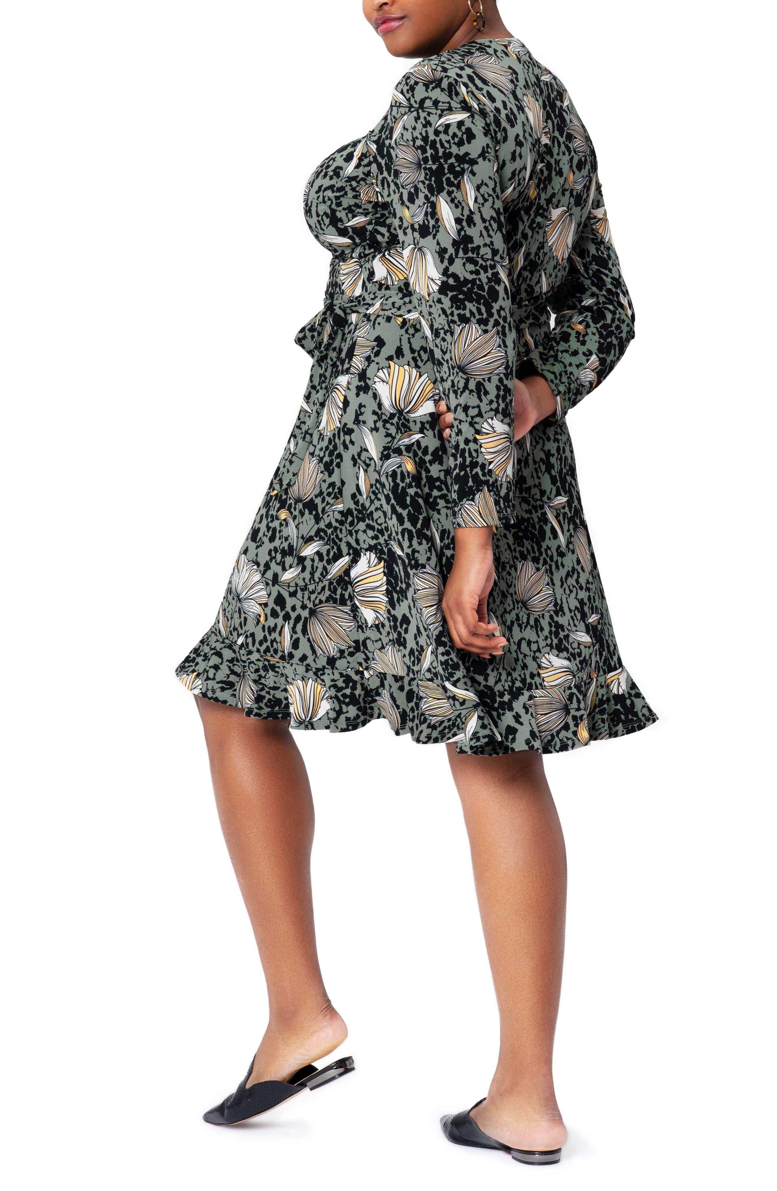 Perfect Floral Wrap Long Sleeve Ruffle Hem Dress