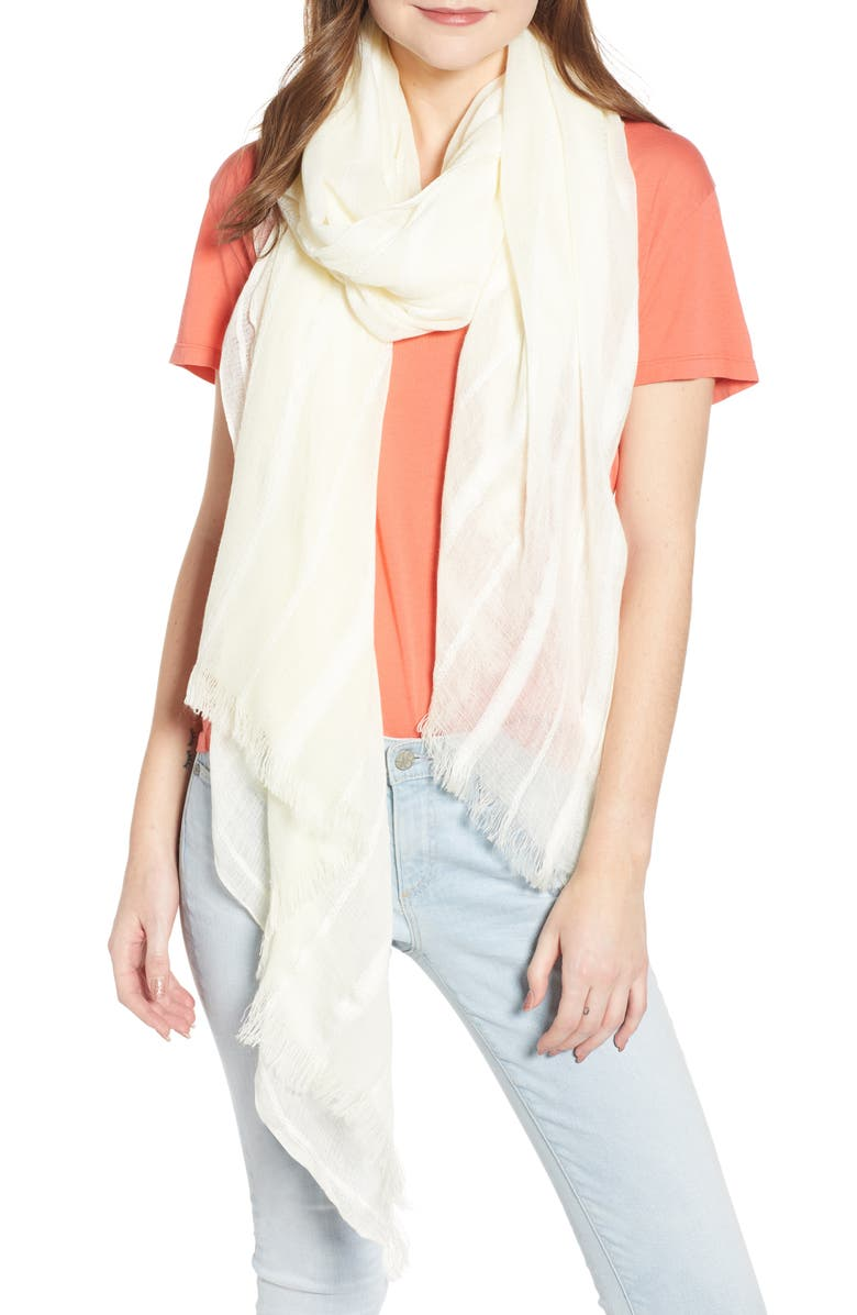 TREASURE & BOND Solid Ribbed Wrap Scarf, Main, color, IVORY
