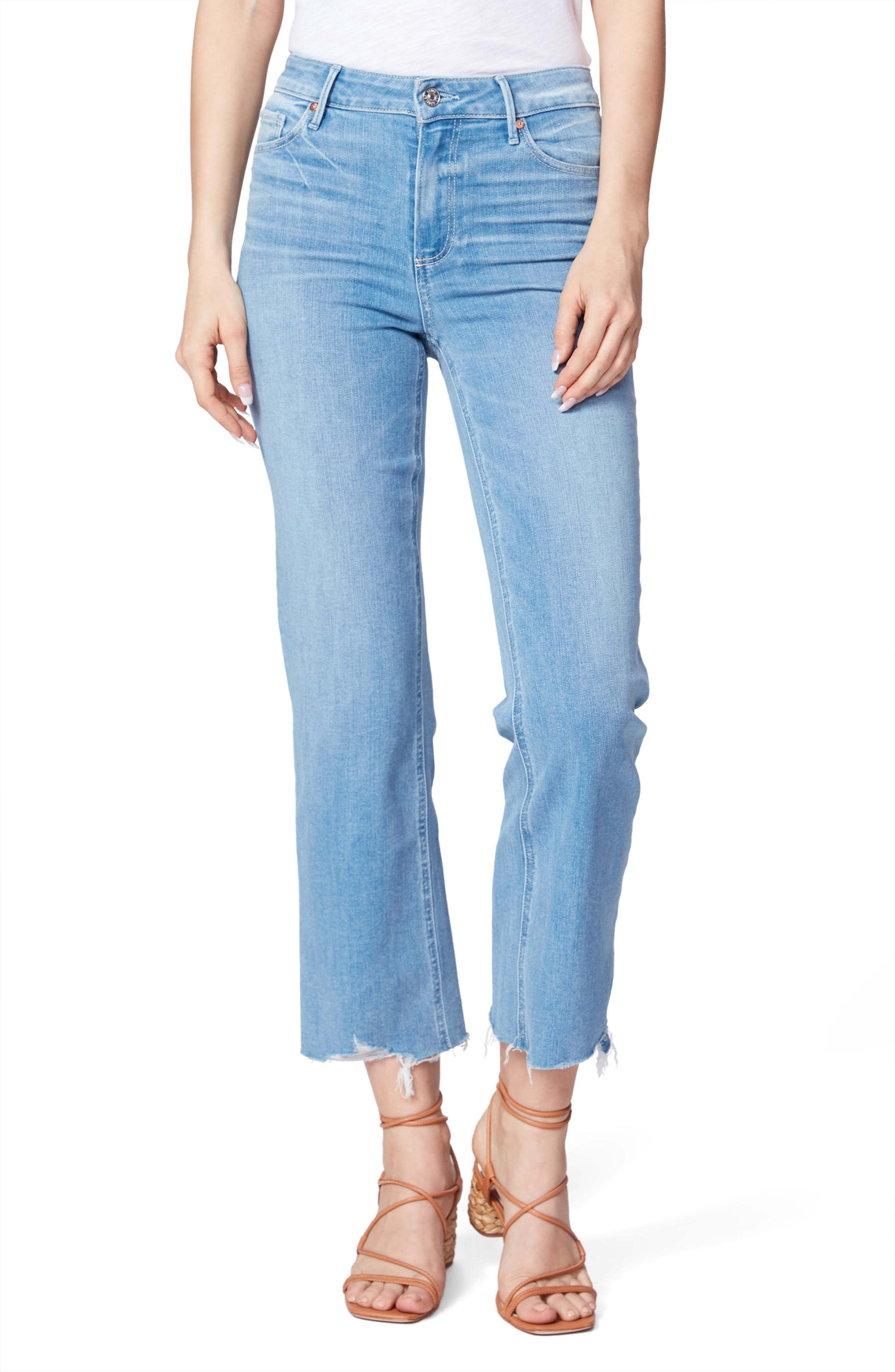 Image of PAIGE Atley High Waist Distressed Ankle Crop Flared Jeans