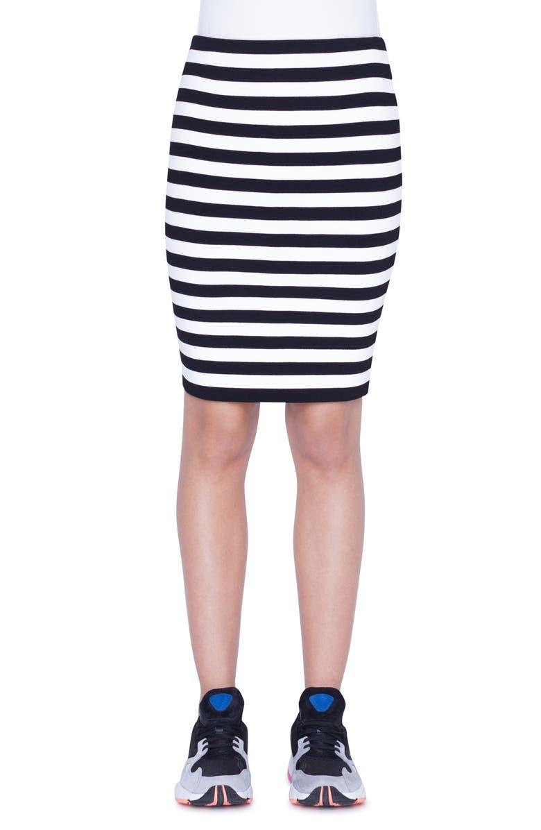AKRIS PUNTO Stripe Knit Skirt, Main, color, BLACK/ CREAM