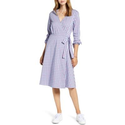 Petite 1901 Long Sleeve Wrap Dress, Blue