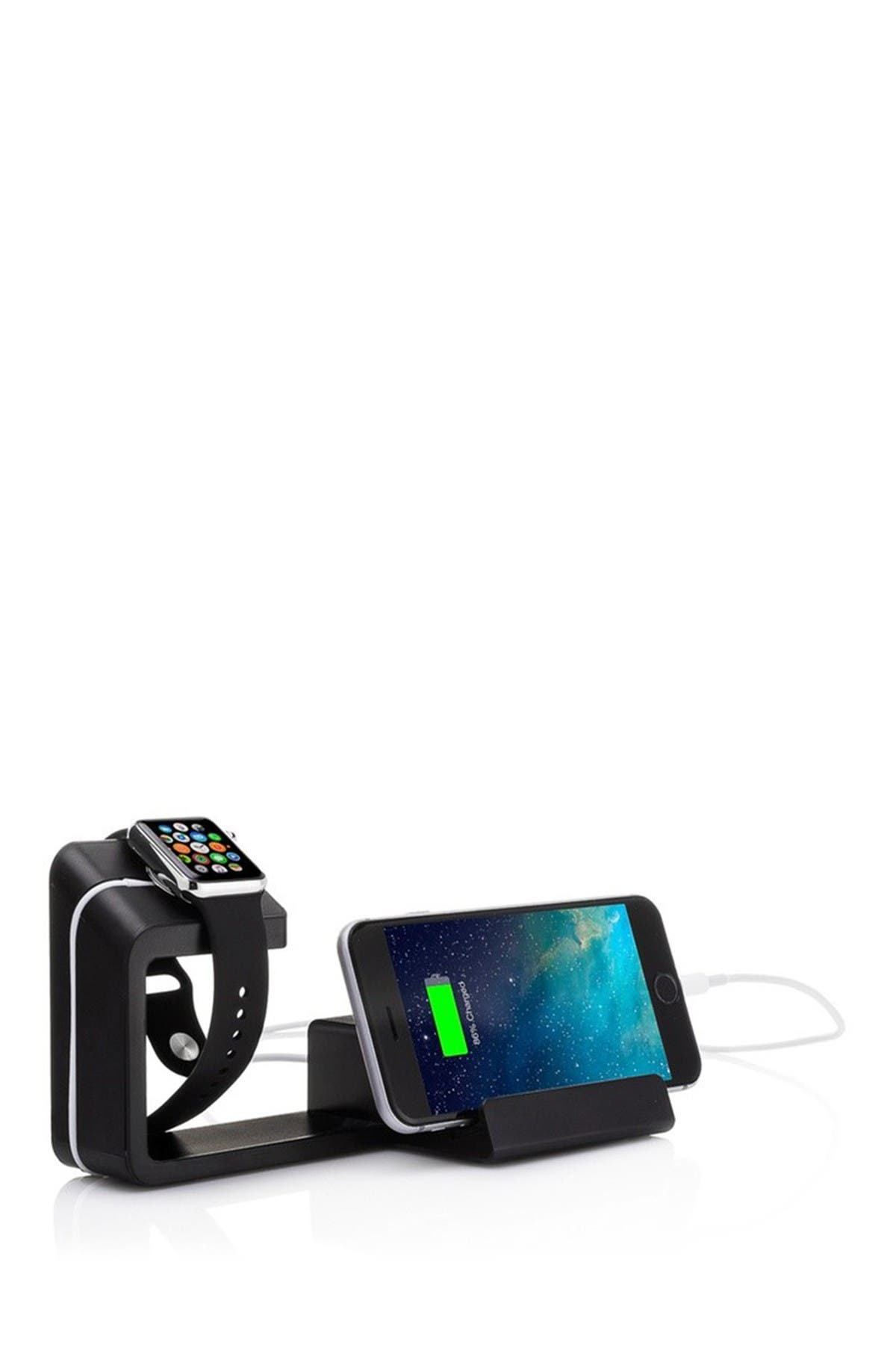 Image of POSH TECH Black 2-in-1 Apple Watch & iPhone Charging Stand