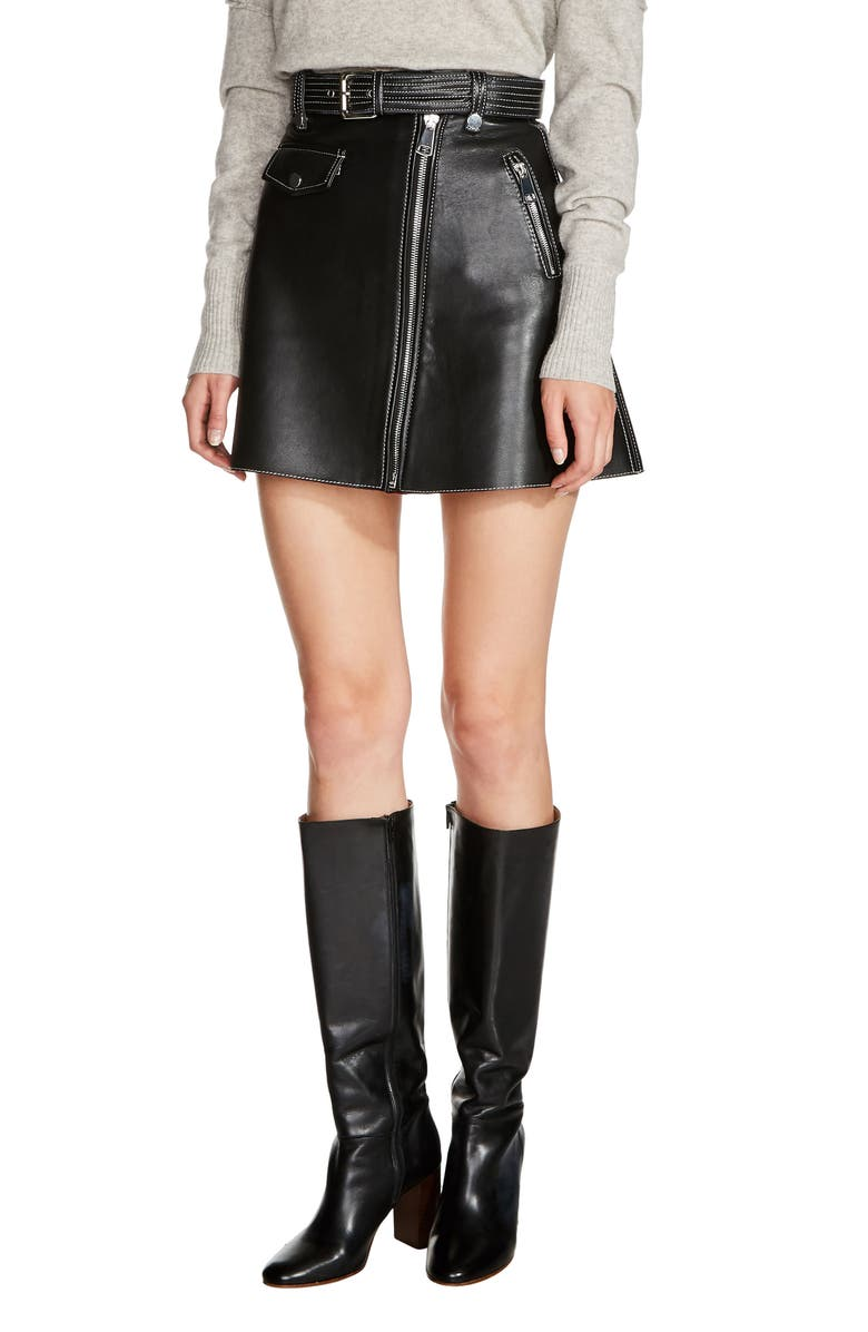 MAJE Belted A-Line Leather Miniskirt, Main, color, 001