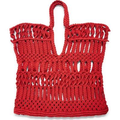 Topshop Shake Woven Tote Bag - Red