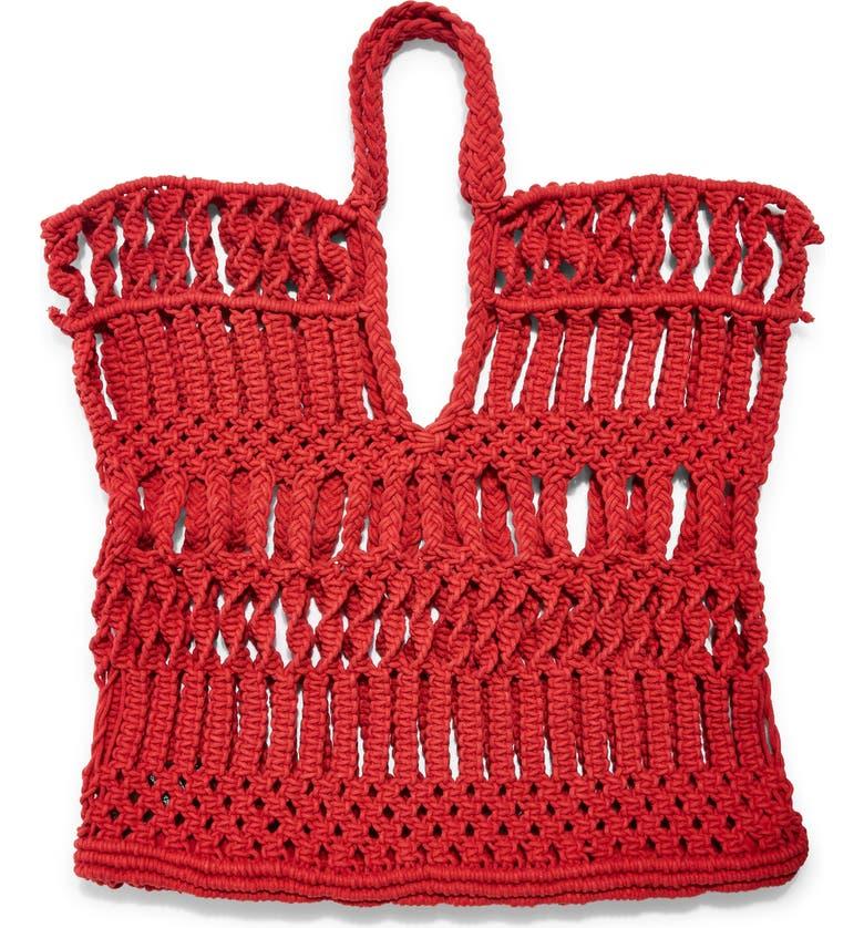 TOPSHOP Shake Woven Tote Bag, Main, color, RED