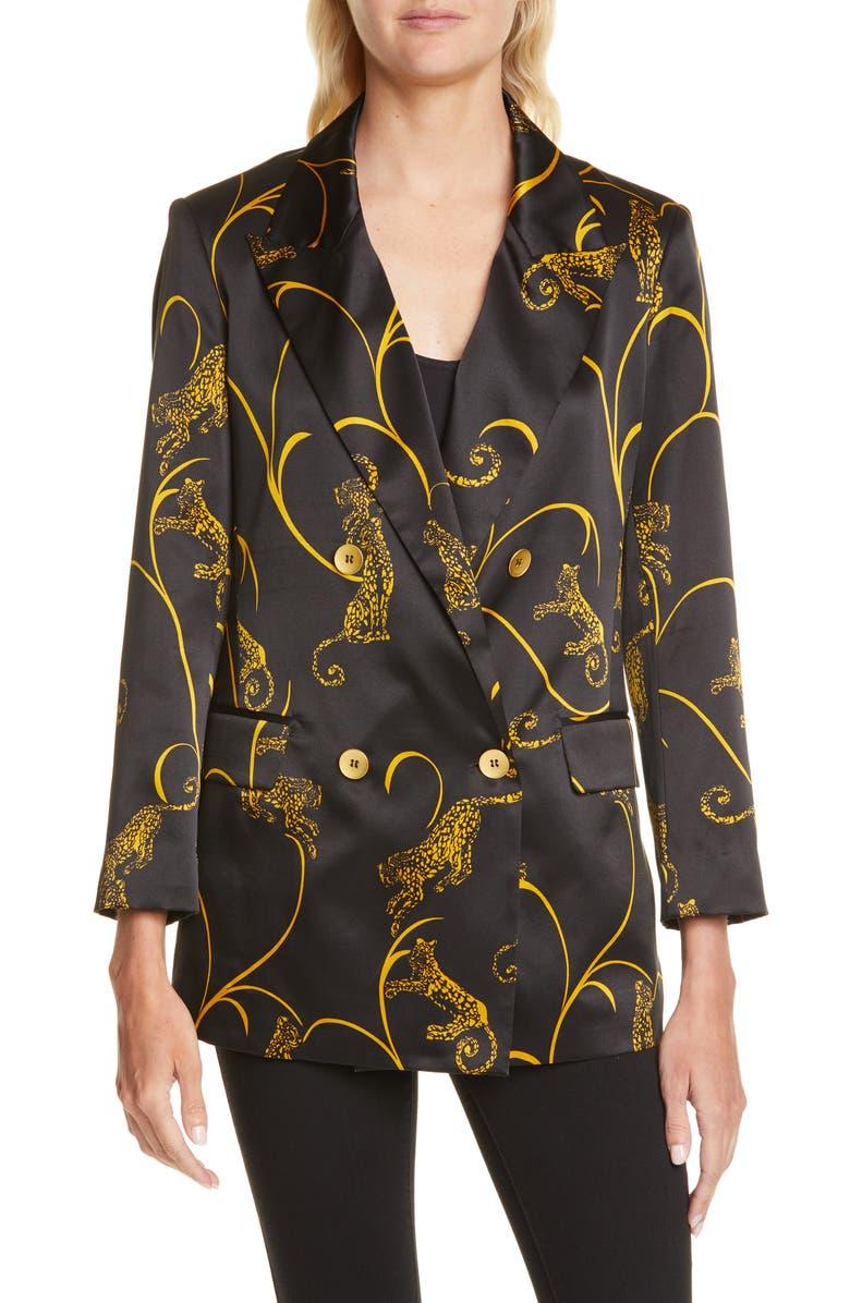 L'AGENCE Taryn Leopard Print Silk Blazer, Main, color, BLK/ GOLD TIGER
