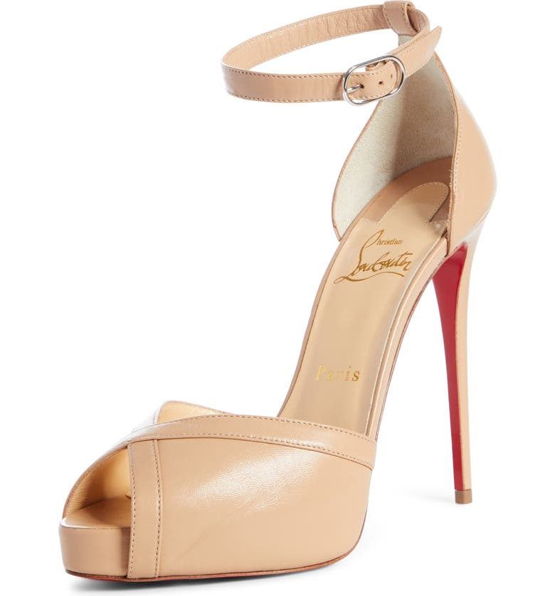 CHRISTIAN LOUBOUTIN Very Cathy Ankle Strap Peep Toe Pump, Main, color, NUDE