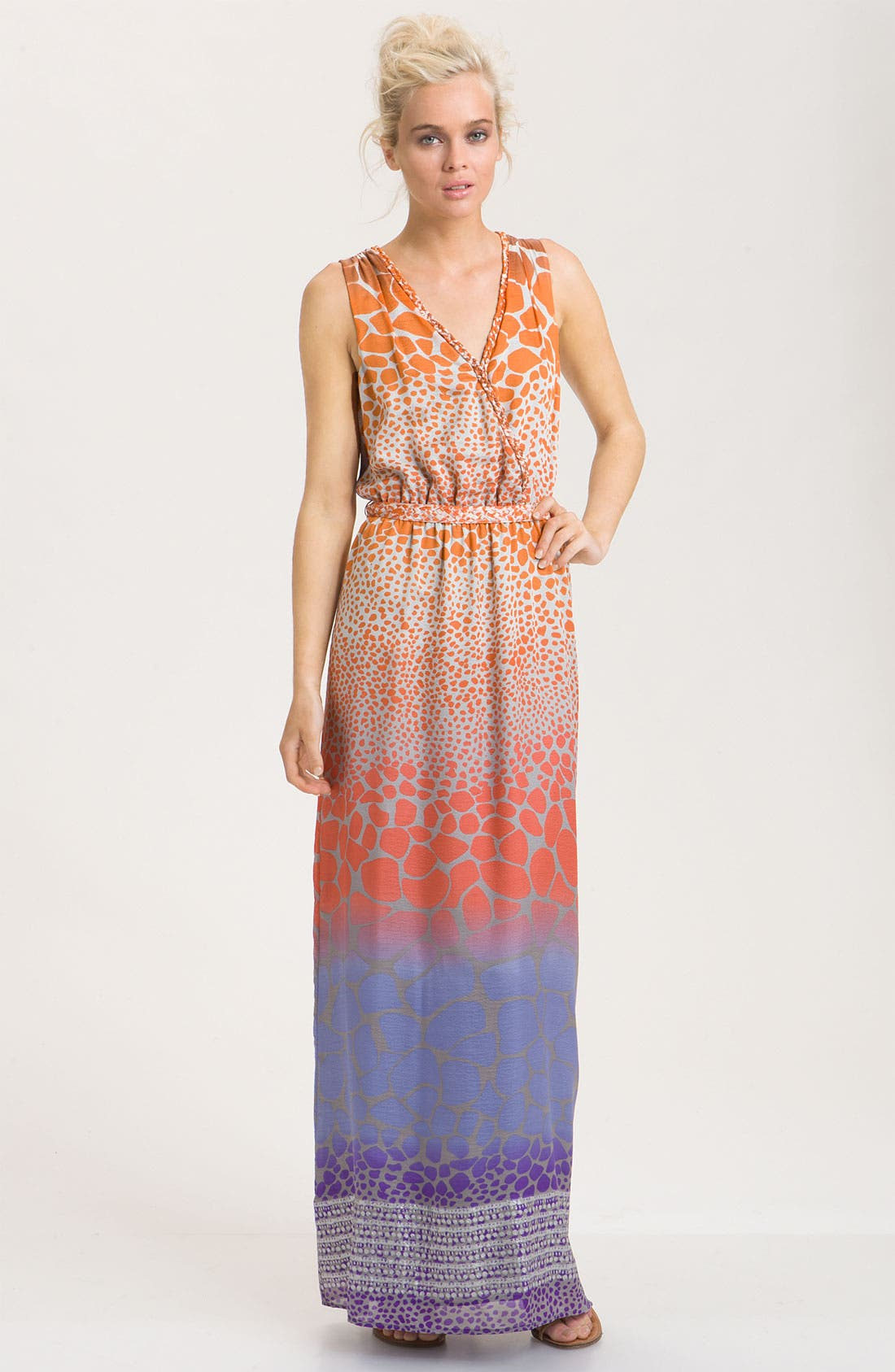 Print Silk Crêpe de Chine Maxi Dress, Main, color, 826