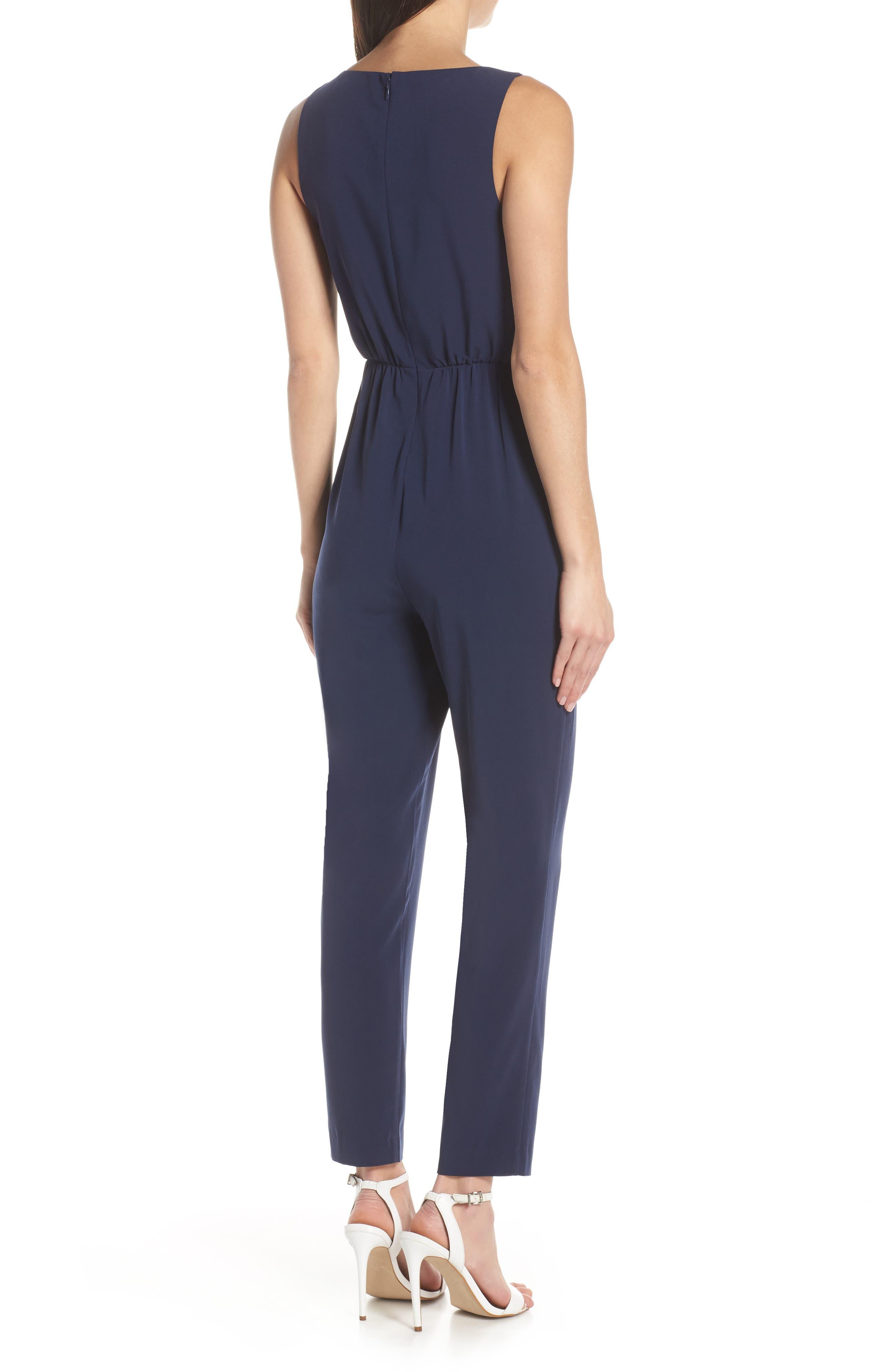 ,                             Sleeveless Slim Leg Asymmetrical Jumpsuit,                             Alternate thumbnail 2, color,                             NAVY