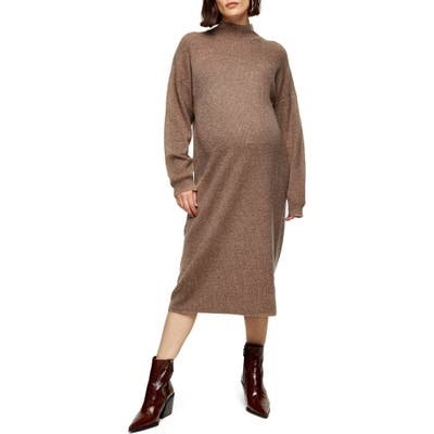 Topshop Long Sleeve Maternity Sweater Dress, Brown