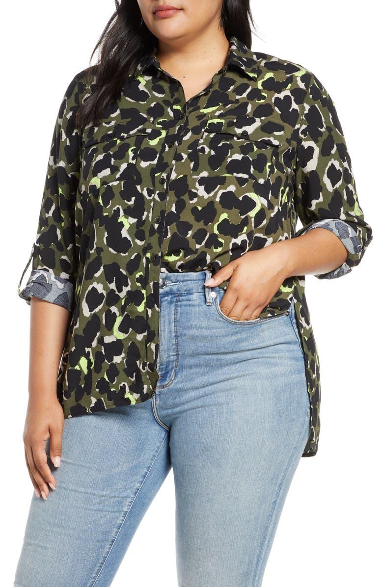 ELOQUII Roll Sleeve Shirt, Main, color, 300