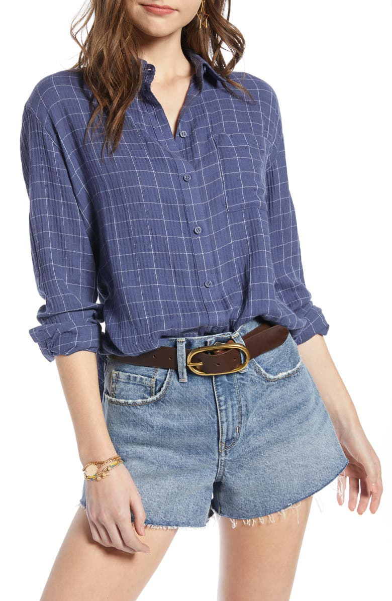 TREASURE & BOND Breezy Check Boyfriend Shirt, Main, color, 401